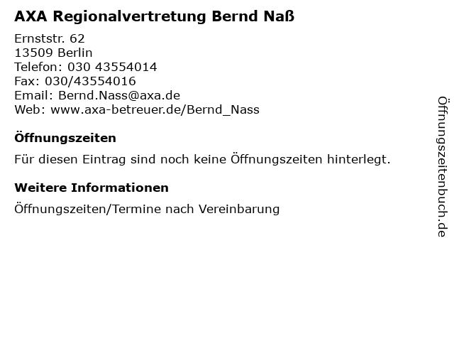 AXA Regionalvertretung Bernd Naß in Berlin: Adresse und Öffnungszeiten