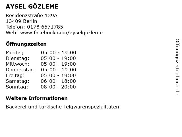 AYSEL GÖZLEME in Berlin: Adresse und Öffnungszeiten