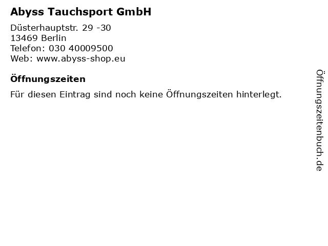 Abyss Tauchsport GmbH in Berlin: Adresse und Öffnungszeiten