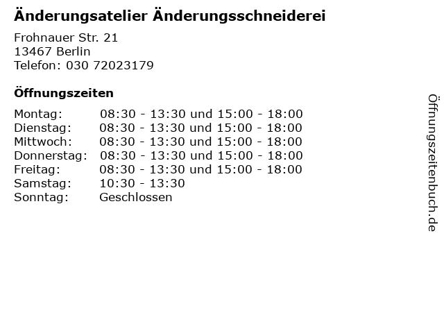 Änderungsatelier Änderungsschneiderei in Berlin: Adresse und Öffnungszeiten