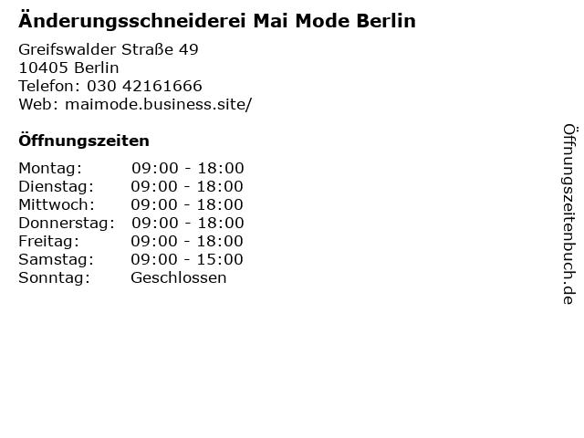 Änderungsschneiderei Mai Mode Berlin in Berlin: Adresse und Öffnungszeiten