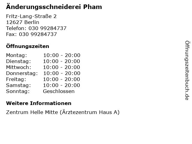 Änderungsschneiderei Pham in Berlin: Adresse und Öffnungszeiten