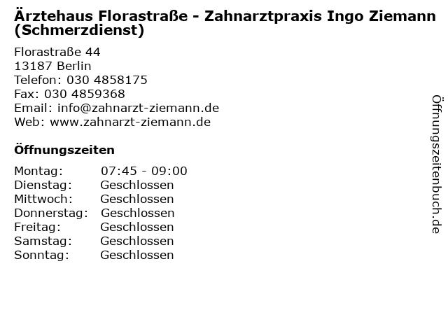 Ärztehaus Florastraße - Zahnarztpraxis Ingo Ziemann (Schmerzdienst) in Berlin: Adresse und Öffnungszeiten