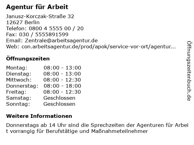 Agentur für Arbeit in Berlin: Adresse und Öffnungszeiten
