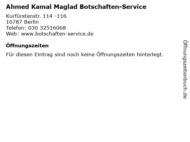 Ahmed Kamal Maglad Botschaften-Service in Berlin: Adresse und Öffnungszeiten