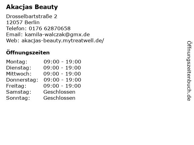 Akacjas Beauty in Berlin: Adresse und Öffnungszeiten