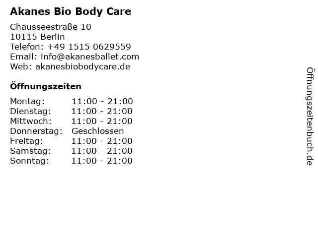 Akanes Bio Body Care in Berlin: Adresse und Öffnungszeiten