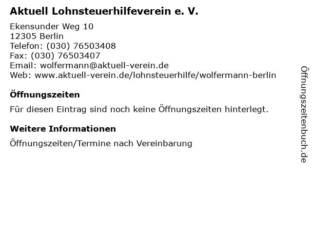 Aktuell Lohnsteuerhilfeverein e. V. in Berlin: Adresse und Öffnungszeiten