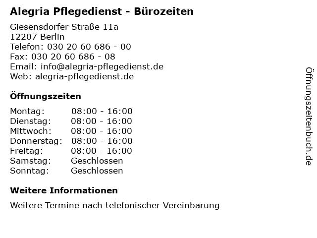 Alegria Pflegedienst - Bürozeiten in Berlin: Adresse und Öffnungszeiten