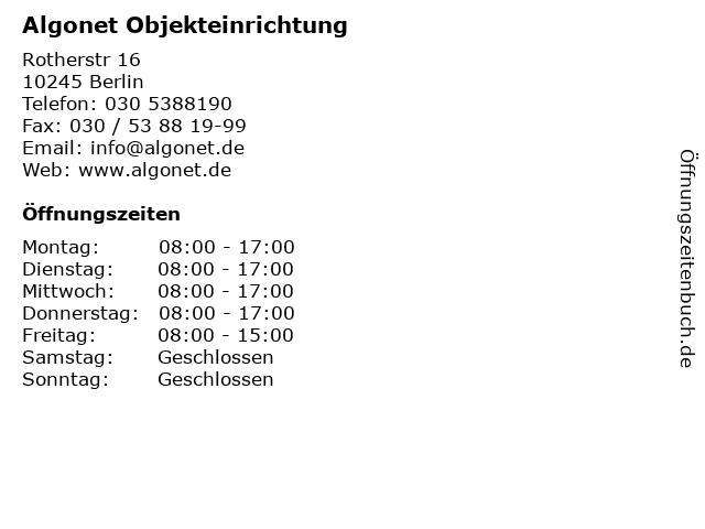 Algonet Objekteinrichtung in Berlin: Adresse und Öffnungszeiten