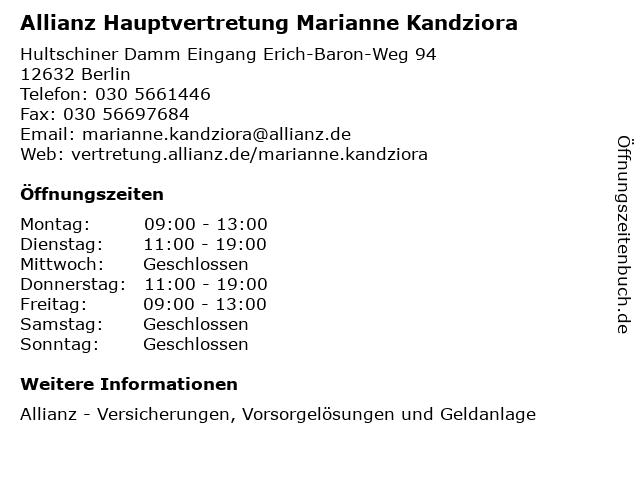 Allianz Hauptvertretung Marianne Kandziora in Berlin: Adresse und Öffnungszeiten