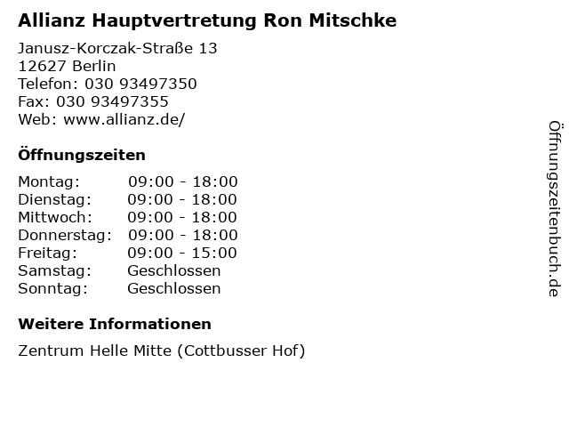 Allianz Hauptvertretung Ron Mitschke in Berlin: Adresse und Öffnungszeiten