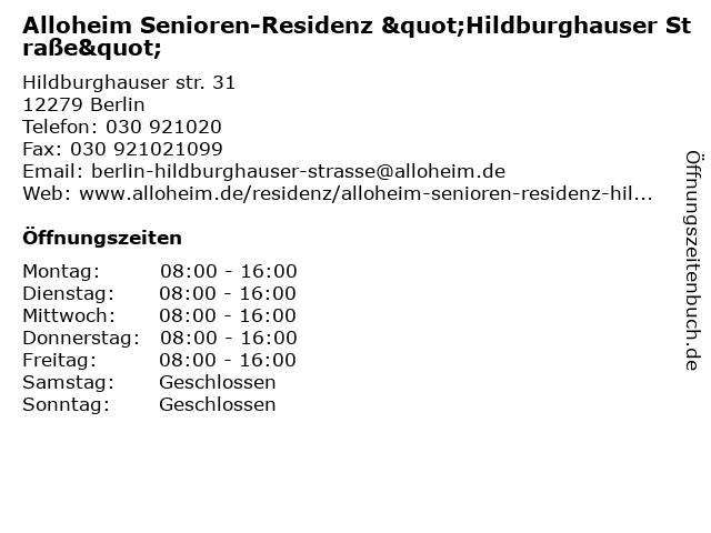 """Alloheim Senioren-Residenz """"Hildburghauser Straße"""" in Berlin: Adresse und Öffnungszeiten"""