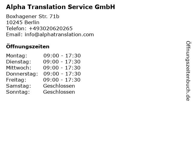 Alpha Translation Service GmbH in Berlin: Adresse und Öffnungszeiten