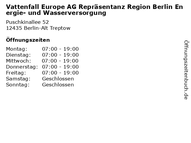 Vattenfall Europe AG Repräsentanz Region Berlin Energie- und Wasserversorgung in Berlin-Alt Treptow: Adresse und Öffnungszeiten