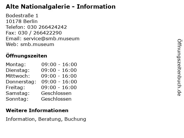 Alte Nationalgalerie - Information in Berlin: Adresse und Öffnungszeiten