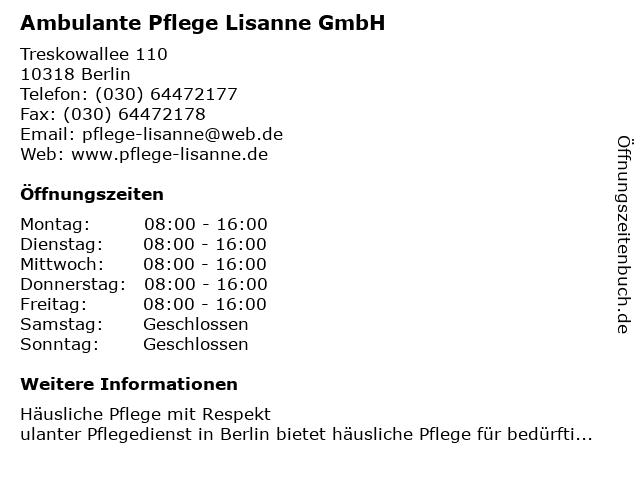 Ambulante Pflege Lisanne GmbH in Berlin: Adresse und Öffnungszeiten