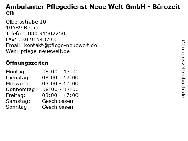 Ambulanter Pflegedienst Neue Welt GmbH - Bürozeiten in Berlin: Adresse und Öffnungszeiten