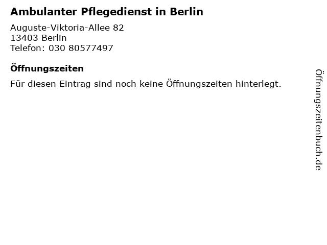 Ambulanter Pflegedienst in Berlin in Berlin: Adresse und Öffnungszeiten