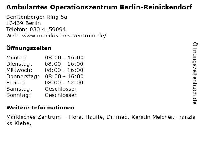 Ambulantes Operationszentrum Berlin-Reinickendorf in Berlin: Adresse und Öffnungszeiten