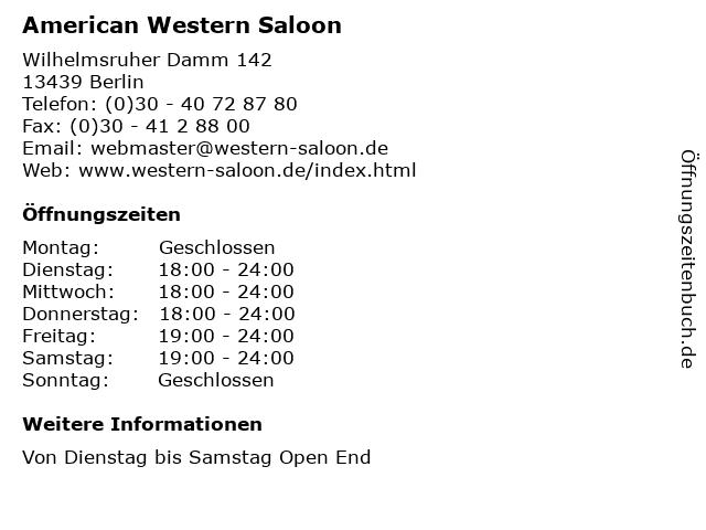American Western Saloon in Berlin: Adresse und Öffnungszeiten