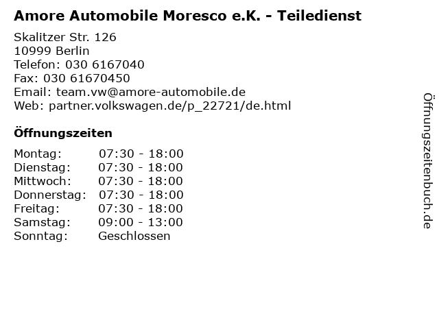 Amore Automobile Moresco e.K. - Teiledienst in Berlin: Adresse und Öffnungszeiten