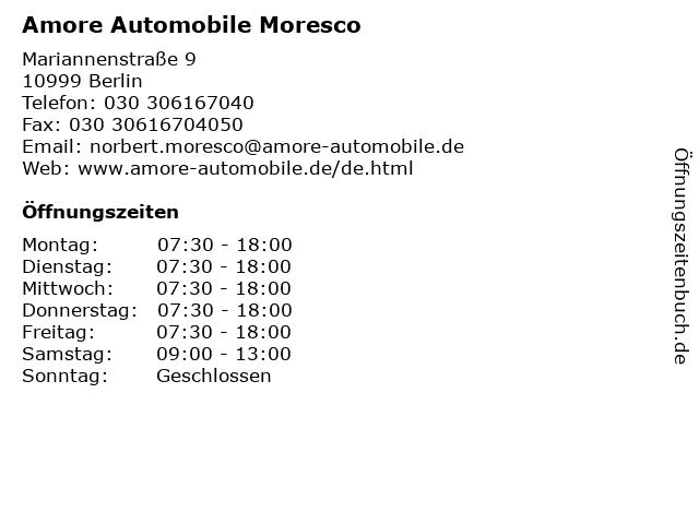 Amore Automobile Moresco in Berlin: Adresse und Öffnungszeiten
