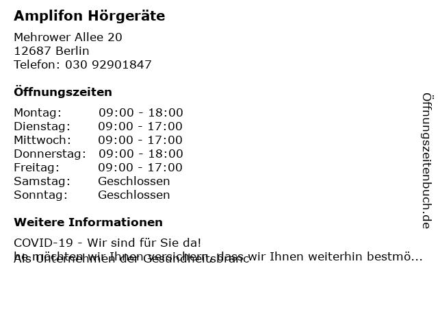 Hörgeräte Rothe in Berlin: Adresse und Öffnungszeiten