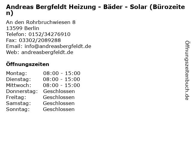 Andreas Bergfeldt Heizung - Bäder - Solar (Bürozeiten) in Berlin: Adresse und Öffnungszeiten