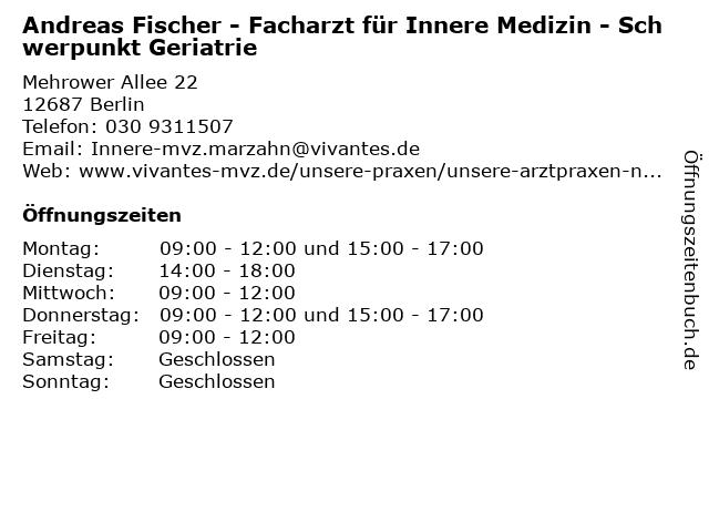 Andreas Fischer - Facharzt für Innere Medizin - Schwerpunkt Geriatrie in Berlin: Adresse und Öffnungszeiten