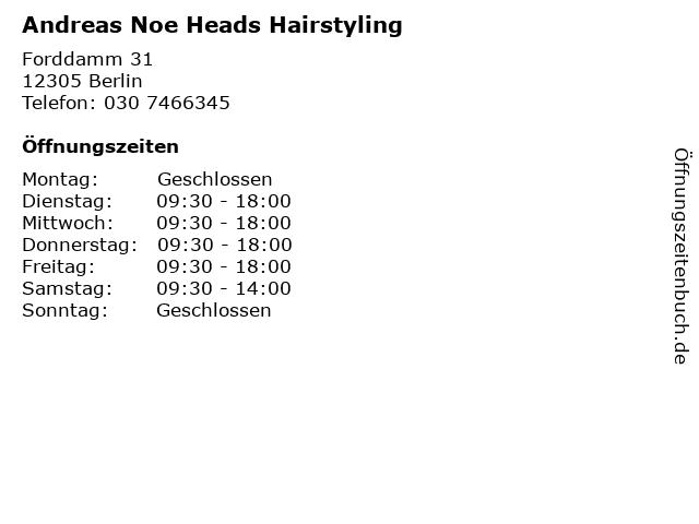 Andreas Noe Heads Hairstyling in Berlin: Adresse und Öffnungszeiten