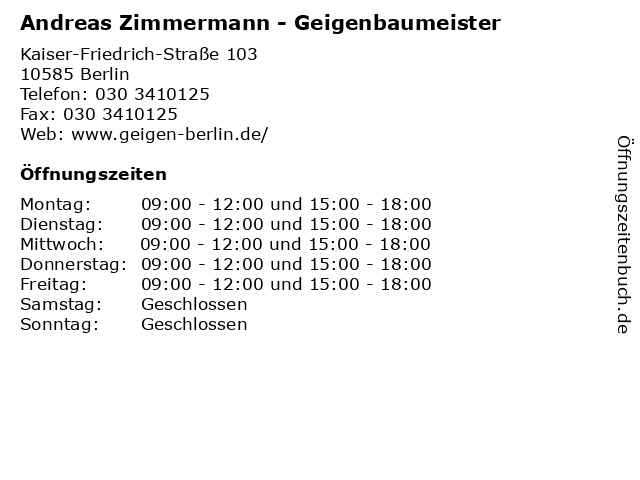 Andreas Zimmermann - Geigenbaumeister in Berlin: Adresse und Öffnungszeiten