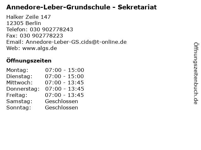 Annedore-Leber-Grundschule - Sekretariat in Berlin: Adresse und Öffnungszeiten