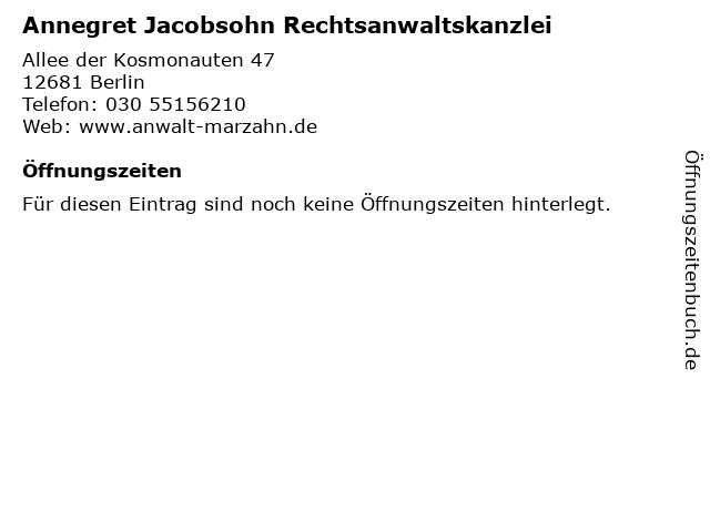 Annegret Jacobsohn Rechtsanwaltskanzlei in Berlin: Adresse und Öffnungszeiten