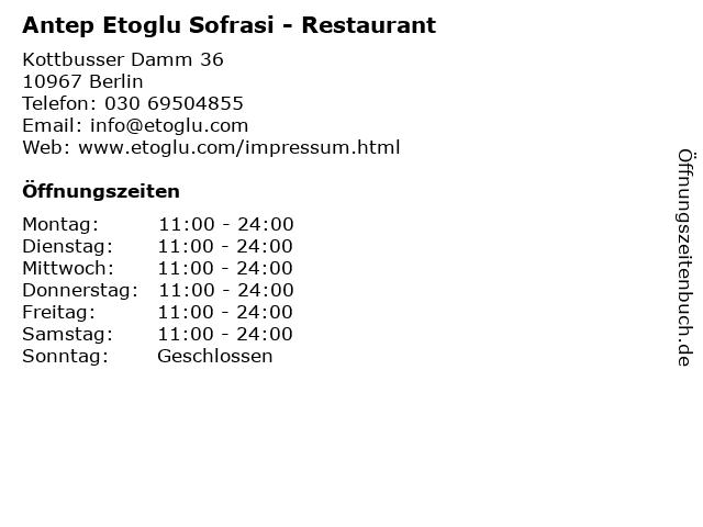 Antep Sofrasi in Berlin: Adresse und Öffnungszeiten