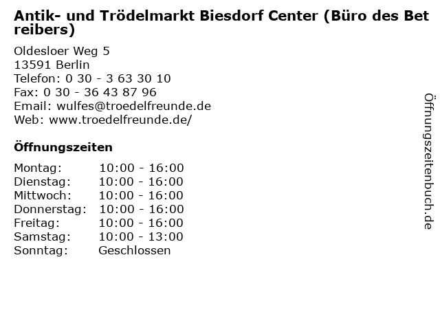 ᐅ öffnungszeiten Antik Und Trödelmarkt Biesdorf Center Büro Des