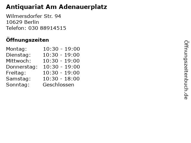 Antiquariat Am Adenauerplatz in Berlin: Adresse und Öffnungszeiten
