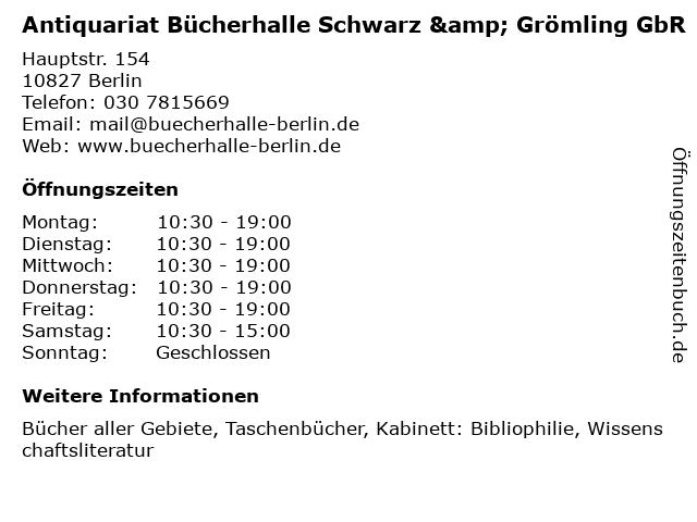 Antiquariat Bücherhalle Schwarz & Grömling GbR in Berlin: Adresse und Öffnungszeiten