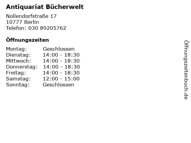 Antiquariat Bücherwelt in Berlin: Adresse und Öffnungszeiten