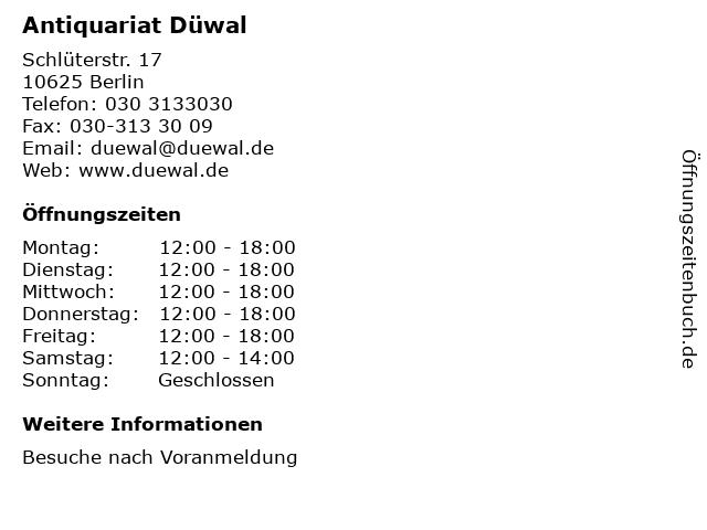 Antiquariat Düwal in Berlin: Adresse und Öffnungszeiten