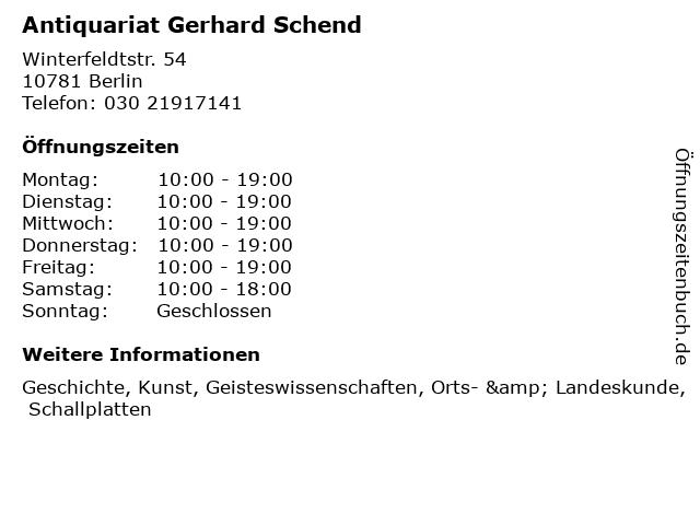 Antiquariat Gerhard Schend in Berlin: Adresse und Öffnungszeiten