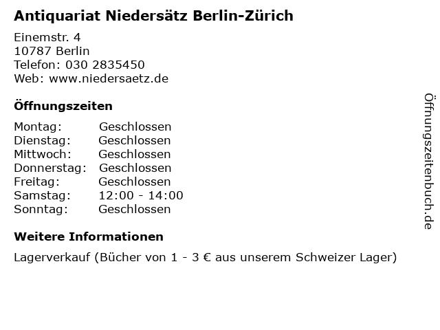 Antiquariat Niedersätz Berlin-Zürich in Berlin: Adresse und Öffnungszeiten