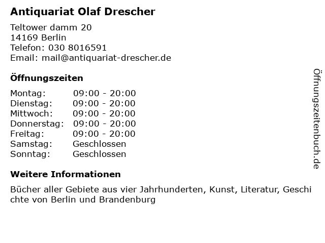 Antiquariat Olaf Drescher in Berlin: Adresse und Öffnungszeiten