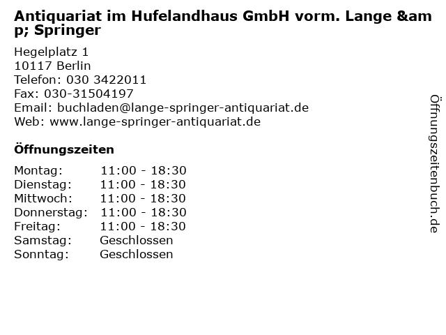 Antiquariat im Hufelandhaus GmbH vorm. Lange & Springer in Berlin: Adresse und Öffnungszeiten