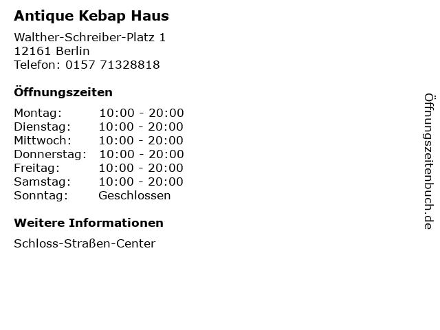 Antique Kebap Haus in Berlin: Adresse und Öffnungszeiten
