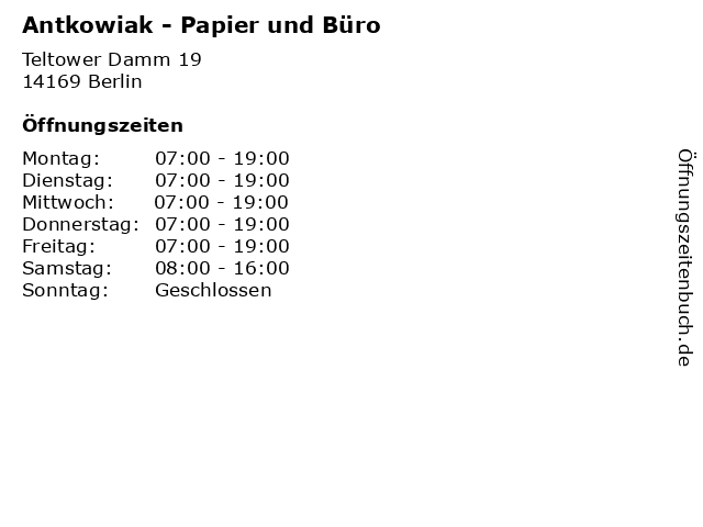 Antkowiak - Papier und Büro in Berlin: Adresse und Öffnungszeiten