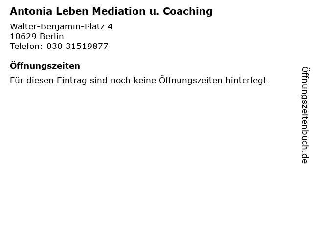 Antonia Leben Mediation u. Coaching in Berlin: Adresse und Öffnungszeiten