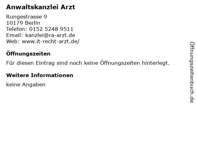 Anwaltskanzlei Arzt in Berlin: Adresse und Öffnungszeiten