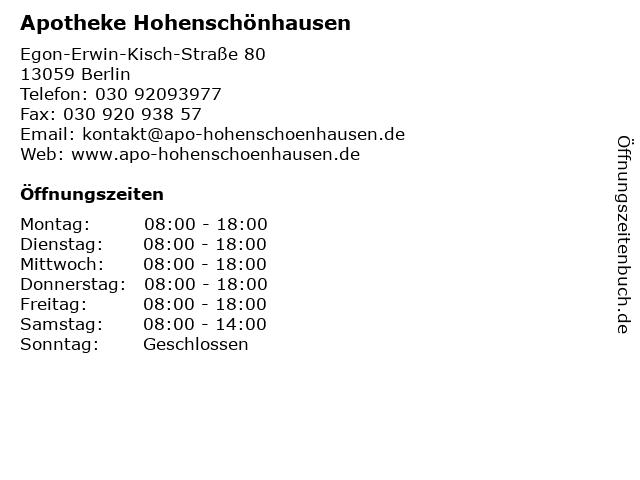 Apotheke Hohenschönhausen in Berlin: Adresse und Öffnungszeiten