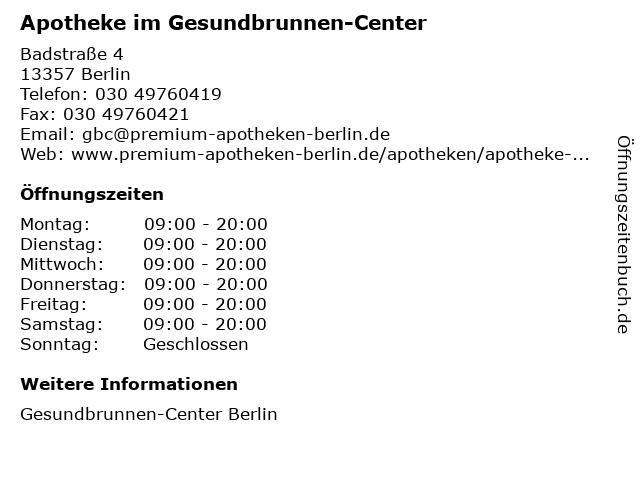 Apotheke im Gesundbrunnen-Center in Berlin: Adresse und Öffnungszeiten